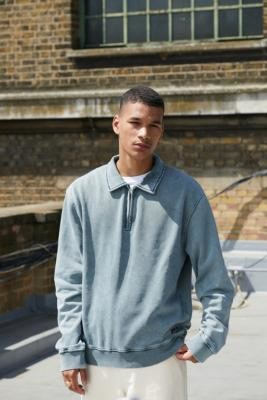 Urban Outfitters BDG Washed Grey Quarter-Zip Sweatshirt - Grey S at