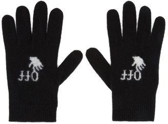 Off-White Black Felted Wool Gloves