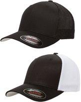 Flexfit Flex fit Trucker Cap - 6511 - (2Pack) 1-Solid Black & 1-Black/White