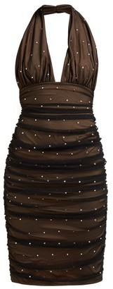 Norma Kamali Rhinestone-embellished Halterneck Dress - Womens - Black