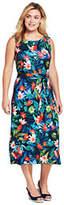 Lands' End Women's Plus Size Sleeveless Ponte Column Dress-Deep Sea Botanical