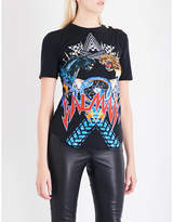 Balmain Animal and logo-print cotton T-shirt