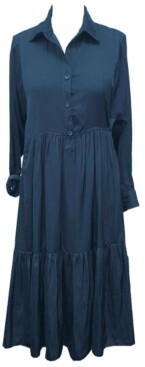 Taylor Plus Size Tiered Collared Shirtdress