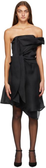 Nina Ricci Black Asymmetric Off-The-Shoulder Dress