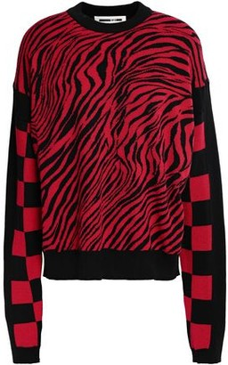 McQ Paneled Cotton-jacquard Sweater
