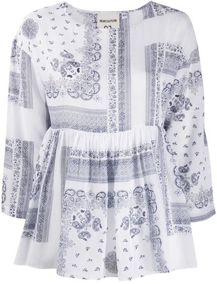 Semi-Couture Paisley Print Flared Blouse