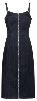 HUGO Stretch-denim dress with full-length front zip