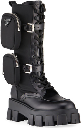 Prada Leather Zip Pocket Tall Combat Boots