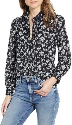 Lucky Brand Floral Pintuck Pleat Shirt