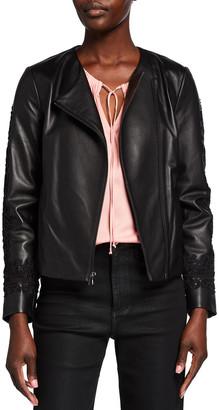 Kobi Halperin Shana Embroidered-Sleeve Leather Jacket