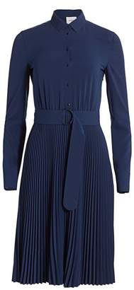 Akris Punto Belted Pleated Skirt Long-Sleeve Shirtdress