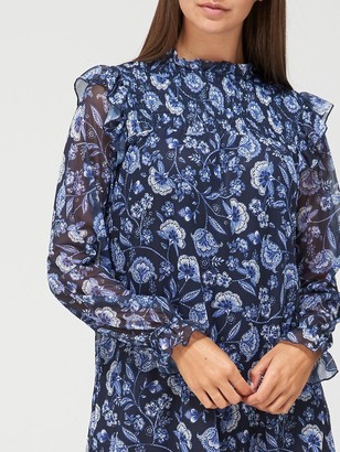 Very Long Sleeve Shirred Ruffle Mini Dress - Blue Floral