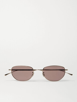 Eyevan 7285 Oval-Frame Gold-Tone Titanium Sunglasses