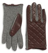 Lauren Ralph Lauren Wool-Blend and Quilted Leather Touch Gloves