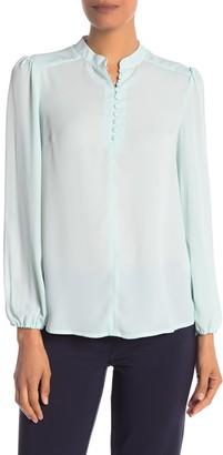 Nanette Nanette Lepore Mandarin Collar Long Sleeve Blouse