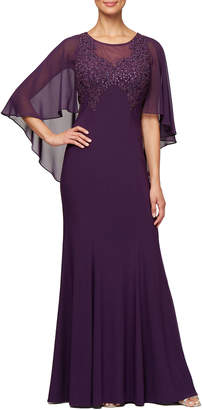 Alex Evenings Flyaway Capelet-Sleeve Embroidered Illusion Dress