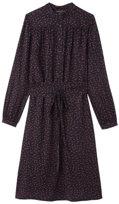 Vanessa Seward X La Redoute Collections Printed Midi Dress with Tie-Waist and Long Sleeves