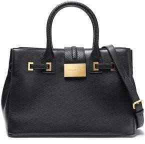Donna Karan Snake Effect-trimmed Textured-leather Shoulder Bag