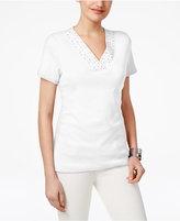 Karen Scott Embellished-Neck Top, Created for Macy's