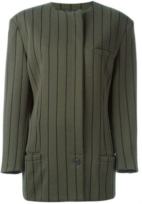 Versace Pre-Owned Striped Single Button Jacket