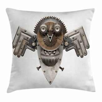 """Industrial Decor Owl Figure Square Pillow Cover East Urban Home Size: 16"""" x 16"""""""