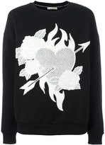 Each X Other heart & roses patch sweatshirt - women - Cotton - XS