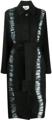 MSGM Tie-Dye Stripe Belted Coat