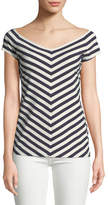 Lafayette 148 New York Reese Bedford Stripe Short-Sleeve Top
