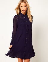 Asos Shirt Dress With Embellished Flower Pearl Trim