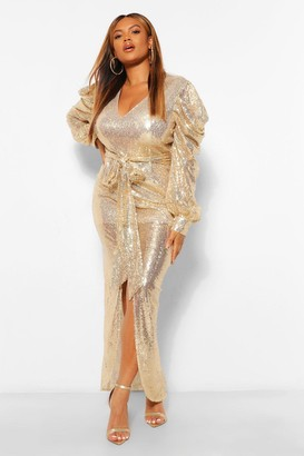 boohoo Plus Sequin Puff Sleeve Tie Waist Wrap Maxi Dress