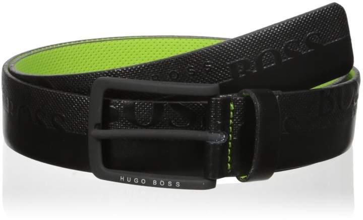 HUGO BOSS BOSS Green Men's Toluca Leather Embossed Belt Accessory