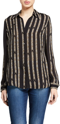 L'Agence Nina Printed Button-Down Silk Blouse