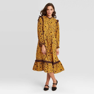 Universal Thread Women's Floral Print Balloon Long Sleeve Ruffle Dress - Universal ThreadTM