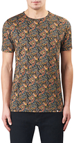 Pretty Green Gretton Paisley T-shirt, Grey/red/yellow