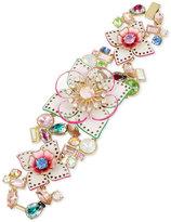 Betsey Johnson Gold-Tone Multi-Stone Floral Flex Bracelet
