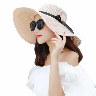 No Name Ltd Oversized Floppy Sun Hat Women Ladies Large Foldable Wide Brim Straw Hats (Beige (Thin Ribbon)