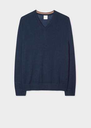 Men's Navy Merino V-Neck Sweater