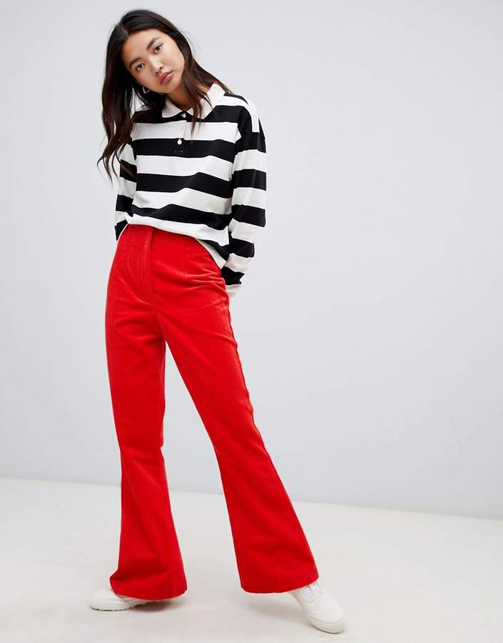 Asos Design DESIGN slim kickflare trousers in Cord