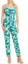 Gianni Bini Suzzie Palm Print Cut Out Jumpsuit with Tie