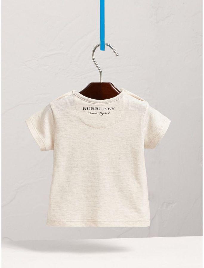 Burberry Flocked Cat Motif Cotton T-shirt