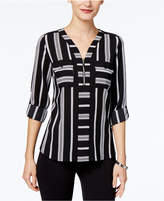 NY Collection Petite Printed Zippered Top