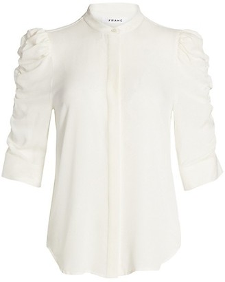 Frame Shirred-Sleeve Silk Shirt