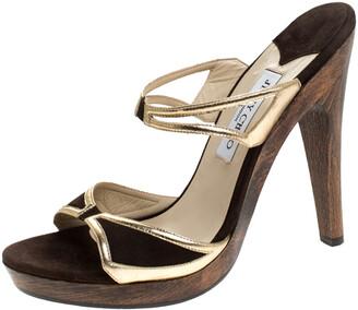Jimmy Choo Dark Brown/Gold Suede and Leather Wooden Platform Slides Sandals Size 40