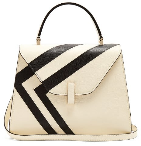 Valextra Iside Medium Striped Grained Leather Bag - Womens - White Black
