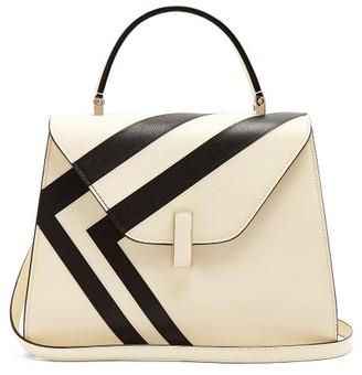 Valextra Iside Medium Striped Grained-leather Bag - White Black