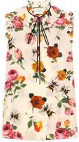 Gucci Rose print silk top