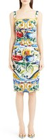 Dolce & Gabbana Tile Print Ruched Stretch Silk Charmeuse Tank Dress