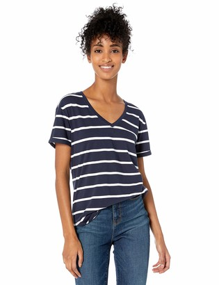Goodthreads Washed Jersey Cotton Roll-sleeve V-neck T-shirt Navy Open Stripe US S (EU S - M)