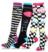 TeeHee Socks TeeHee Novelty Cotton Knee High Fun Socks 3-Pack for Junior and Women