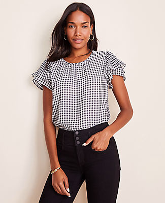 Ann Taylor Petite Gingham Pleated Flutter Sleeve Top